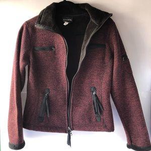 ATHLETA knit fleeced lined warm cozy jacket cardigan sweater black red zip up XS